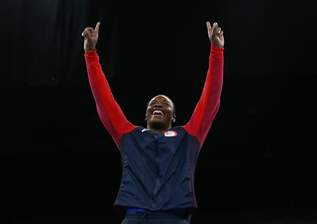 2016 Rio Olympics - Boxing - Victory Ceremony - Women's Middle (75kg) Victory Ceremony - Riocentro - Pavilion 6 - Rio de Janeiro, Brazil - 21/08/2016. Gold medallist Claressa Shields (USA) of USA reacts. REUTERS/Peter Cziborra FOR EDITORIAL USE ONLY. NOT FOR SALE FOR MARKETING OR ADVERTISING CAMPAIGNS.