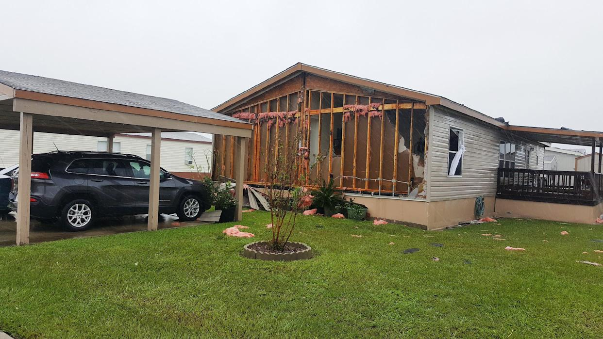 A damaged mobile home in Victoria.