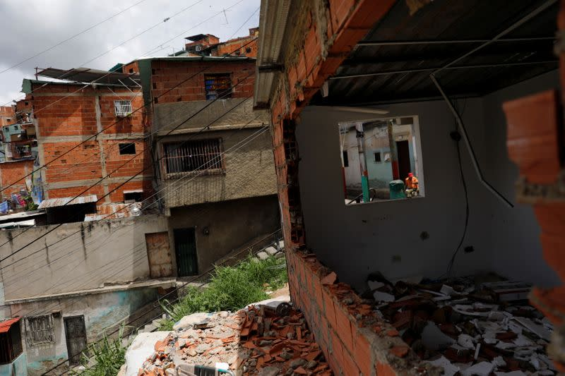 A destroyed sentry box used as a checkpoint by the El Koki criminal gang is seen in the Cota 905 neighborhood in Caracas