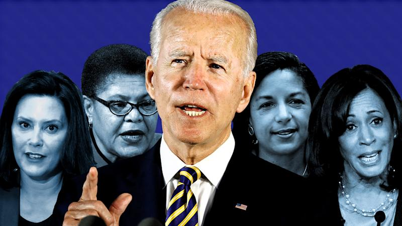Gov. Gretchen Whitmer, Rep. Karen Bass, Joe Biden, Susan Rice and Sen. Kamala Harris. (Photo illustration: Yahoo News; photos: AP)