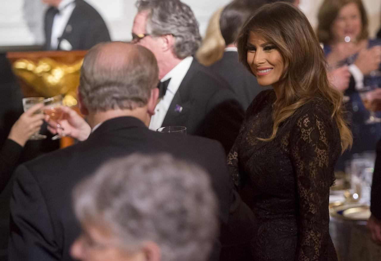 The First Lady wore a custom black lace Dolce & Gabbana gown for the 2018 Governors' Ball at the White House.