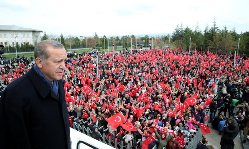 Erdoğan addresses his supporters in Ankara.