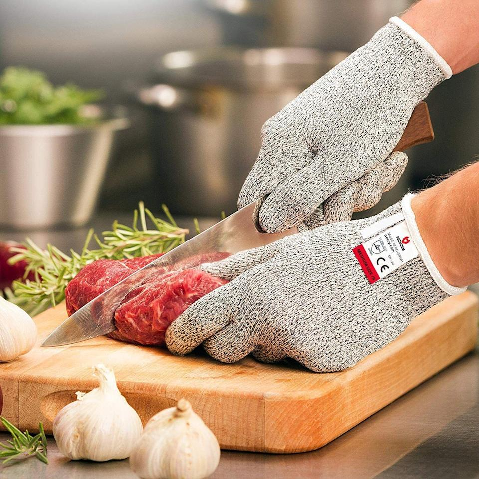 """So you canensure your fingers and hands are kept safe when handling the sharpest of knives in the kitchen. You have a delicious meal to prepare — there's no time for preventable injuries.<br /><br /><strong>Promising review:</strong>""""I bought the gloves because I had two nasty cuts in quick succession from a cheese grater. Anyone who has had injuries to their fingers knows how difficult it is to continue to do everyday activities and meal preparation while still protecting your wound. I received the gloves quickly after my order and pressed them into use immediately that evening. I am most impressed. My fingers/hands were protected from my very sharp grater and knife while I prepared dinner. I bought two pairs, one to keep and one to give as a gift. I am now going to buy a third pair in a larger size for a friend who also likes to cook but suffers from occasional run-ins with mandolines, graters, and knives. Great product!"""" — <a href=""""https://www.amazon.com/gp/customer-reviews/R3OHAK13HZR59Q?&linkCode=ll2&tag=huffpost-bfsyndication-20&linkId=aa7a9a7945571f883092ecf0c39aed46&language=en_US&ref_=as_li_ss_tl"""" target=""""_blank"""" rel=""""noopener noreferrer"""">O'Hare</a><br /><br /><strong><a href=""""https://www.amazon.com/NoCry-Cut-Resistant-Gloves-Complimentary/dp/B00IVM1TKO?&linkCode=ll1&tag=huffpost-bfsyndication-20&linkId=d695c6ec891ad4a3aeb9aa58fed9946c&language=en_US&ref_=as_li_ss_tl"""" target=""""_blank"""" rel=""""noopener noreferrer"""">Get them from Amazon for $11.49+ (available in two colors, and four sizes).</a></strong>"""