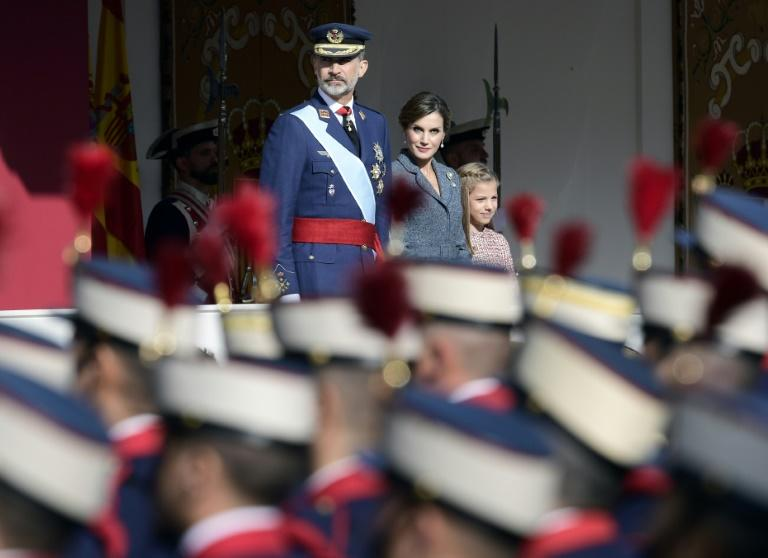 King Felipe VI presided over the annual military parade marking Spain's National Day in Madrid, under the cloud of the Catalan government's threat to declare independence
