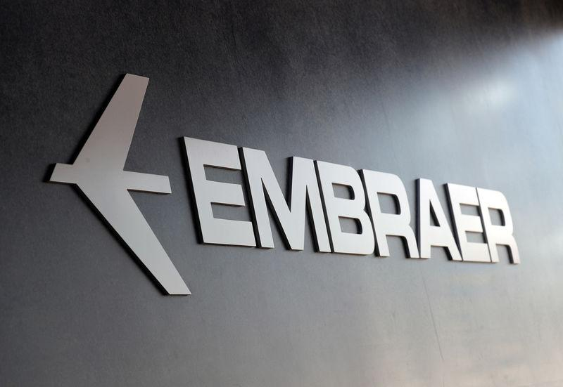 Embraer logo at LABACE in Sao Paulo