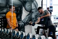A gym member at Ultimate Fitness Gym in Birmingham gets reacquainted with a dumbell (Picture: Getty)