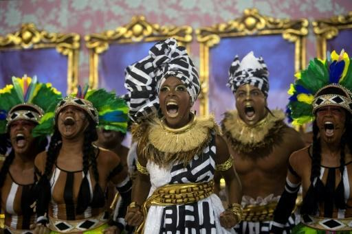 Members of the Mangueira samba school perform in March 2019 during Rio's carnival parade and will perform again on Sunday as part of carnival 2020, in a show with a special message about tolerance