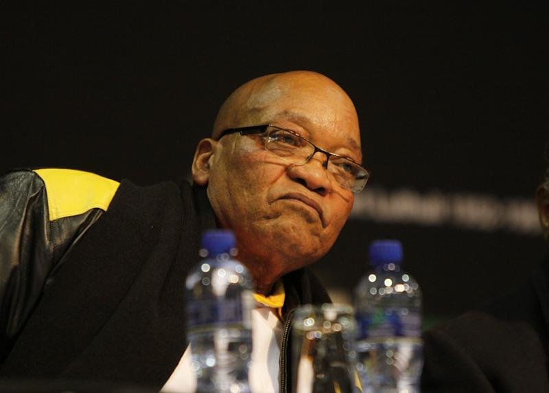 South African president Jacob Zuma arrives at the ruling African National Congress (ANC) party 's 4th policy conference in Midrand, Johannesburg, South Africa, Tuesday, June 26, 2012.   Zuma called for the ANC to to root out corruption and return to the values of its past. (AP Photo/Denis Farrell)
