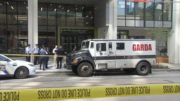 PHOTO: Philadelphia police and the FBI are looking for three men who attempted to rob an armored car making a delivery to a bank on Thursday, Aug. 1, 2019. (WPVI)