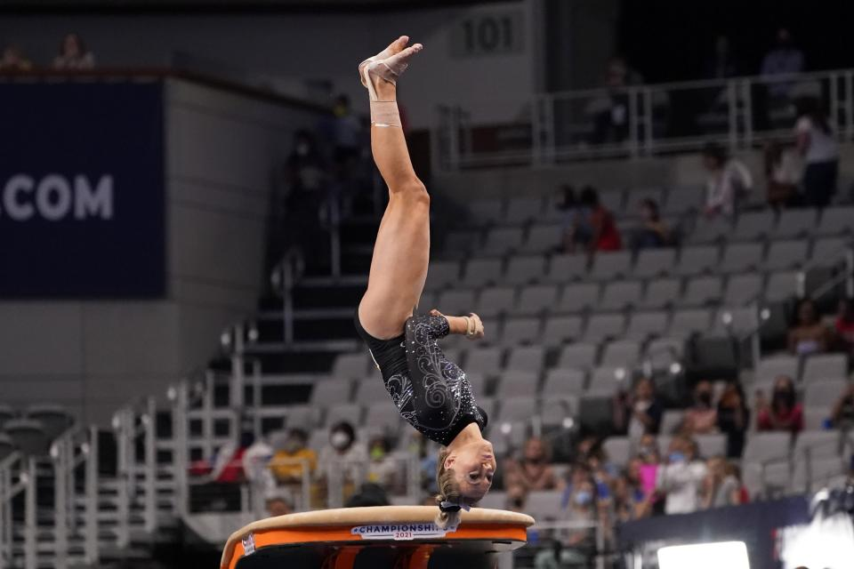 MiKayla Skinner competes in the vault exercise during the U.S. Gymnastics Championships, Friday, June 4, 2021, in Fort Worth, Texas. (AP Photo/Tony Gutierrez)
