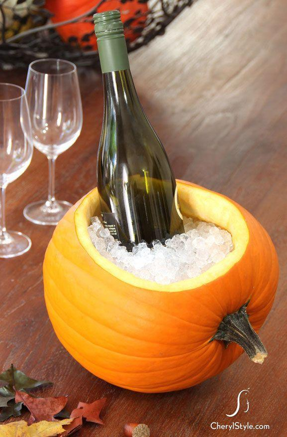 "<p>This Halloween, use a gourd to chill your favorite vino. Lay a pumpkin on its side, cut out a large oval with a <a href=""https://www.amazon.com/Cuisinart-C77TR-5SUT-Collection-Serrated-Utility/dp/B06XYDQW9K/ref=sr_1_4?tag=syn-yahoo-20&ascsubtag=%5Bartid%7C10050.g.279%5Bsrc%7Cyahoo-us"" rel=""nofollow noopener"" target=""_blank"" data-ylk=""slk:serrated knife"" class=""link rapid-noclick-resp"">serrated knife</a>, and use a <a href=""https://www.amazon.com/Mercer-Culinary-M22003-Millennia-3-5-Inch/dp/B001EN2L1I/ref=sr_1_3?tag=syn-yahoo-20&ascsubtag=%5Bartid%7C10050.g.279%5Bsrc%7Cyahoo-us"" rel=""nofollow noopener"" target=""_blank"" data-ylk=""slk:paring knife"" class=""link rapid-noclick-resp"">paring knife</a> to smooth the interior after scooping out its innards. </p><p><strong>Get the tutorial at <a href=""http://everydaydishes.com/holiday/diy-create-pumpkin-ice-bucket/"" rel=""nofollow noopener"" target=""_blank"" data-ylk=""slk:Everyday Dishes"" class=""link rapid-noclick-resp"">Everyday Dishes</a></strong>. </p>"