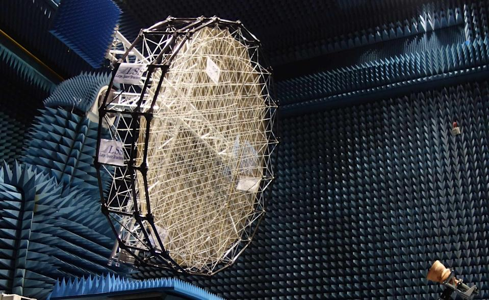 This metal-mesh antenna reflector was created as part of the European Space Agency's AMPER (Advanced techniques for mesh reflector with improved radiation pattern performance) project. Researchers are developing this mesh reflector technology to advance the performance and capabilities of large antennas.