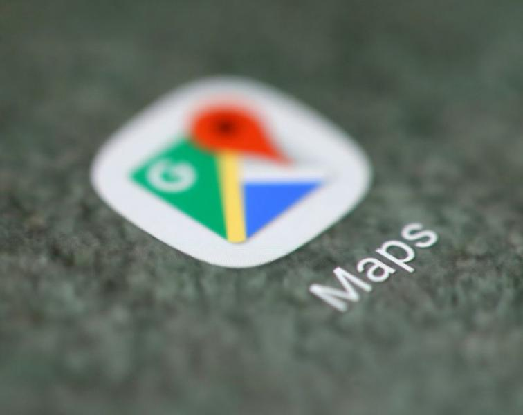 FILE PHOTO: The Google Maps app logo is seen on a smartphone in this illustration