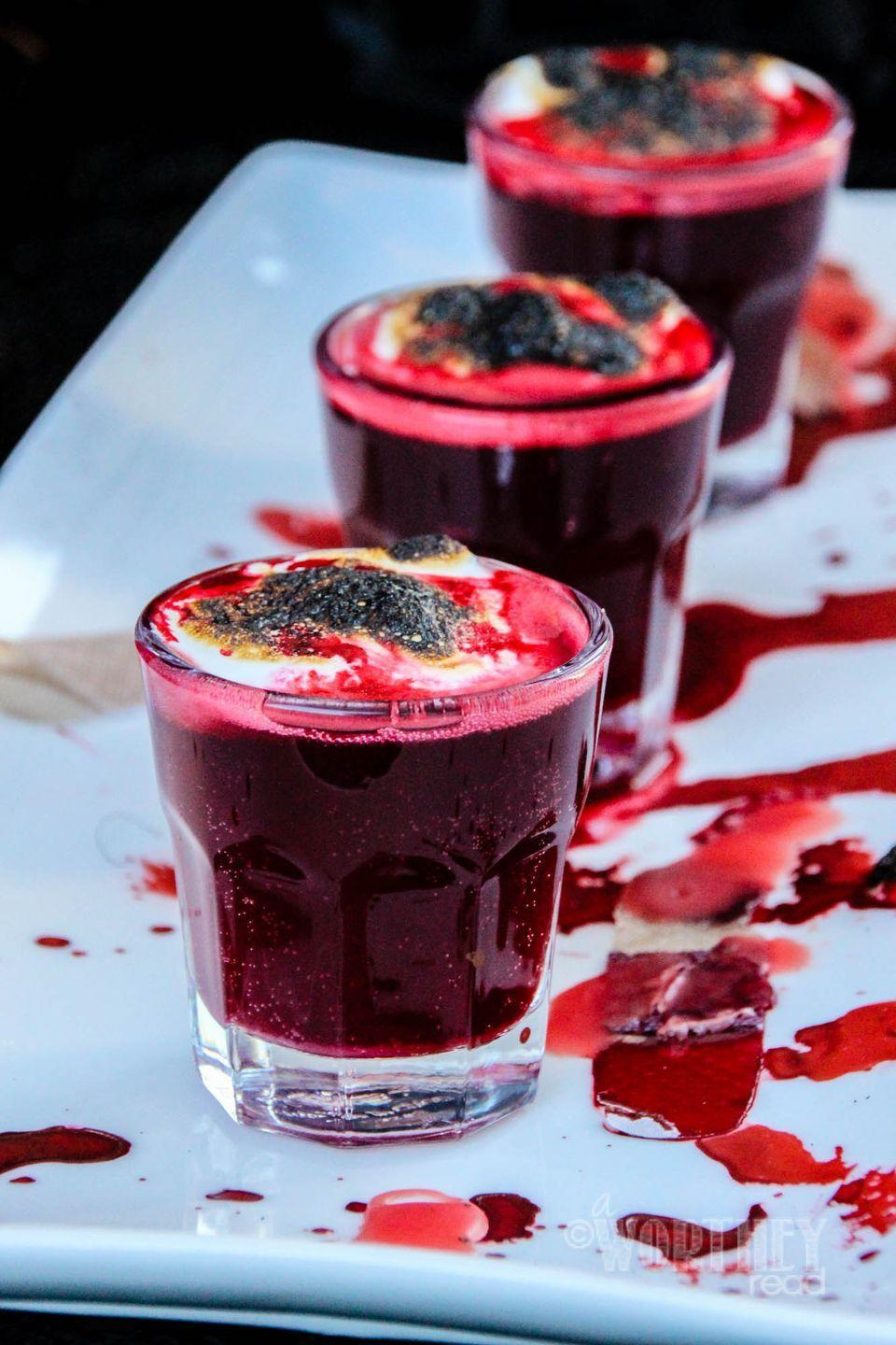 """<p>You may need a couple shots before doing this blood-inspired shot.</p><p>Get the recipe from <a href=""""http://www.awortheyread.com/blood-clot-shots-halloween-drink/"""" rel=""""nofollow noopener"""" target=""""_blank"""" data-ylk=""""slk:This Worthy Life"""" class=""""link rapid-noclick-resp"""">This Worthy Life</a>.<br></p>"""
