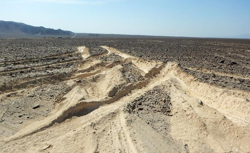 This Peruvian Ministry of Culture picture shows damage caused by a truck that illegally entered the archaeological site where the ancient Nazca lines are located on January 27