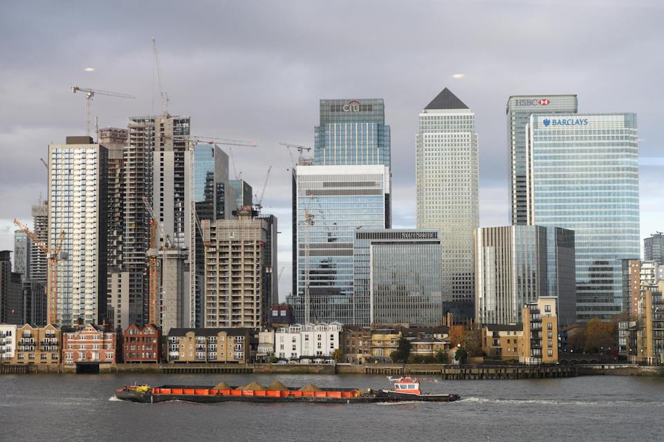 Under threat: London's Canary Wharf financial district. Photo: Leon Neal/Getty Images.