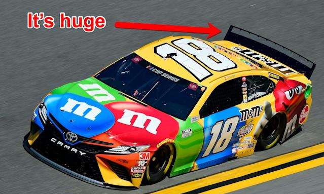 NASCAR has increased the size of the spoilers to increase the downforce on the cars at the fastest tracks.