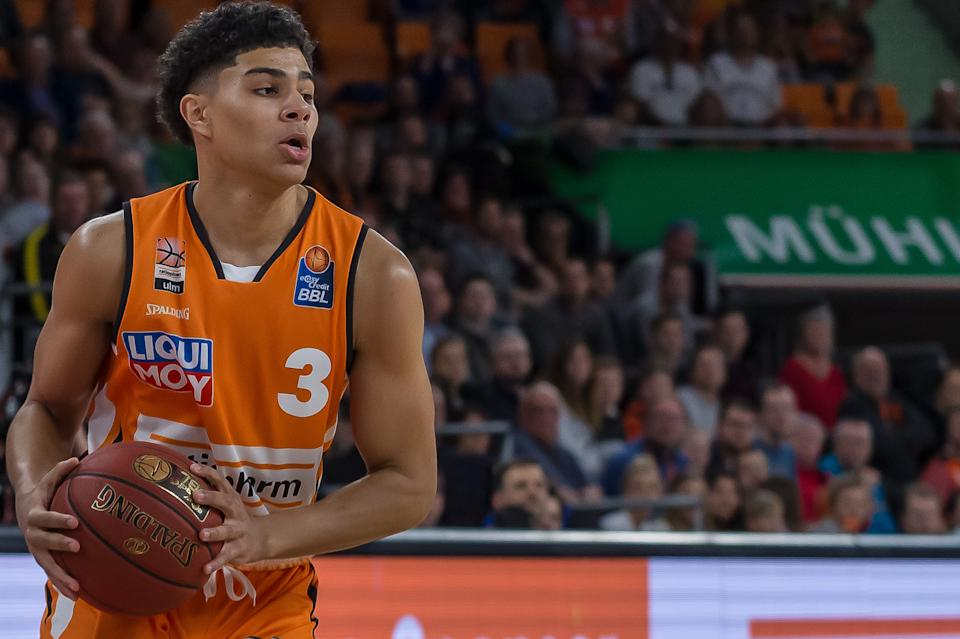 Killian Hayes of Ratiopharm Ulm controls the Ball during the EasyCredit Basketball Bundesliga (BBL) match between Ratiopharm Ulm and MHP Riesen Ludwigsburg at ratiopharm Arena on March 8, 2020 in Ulm, Germany.