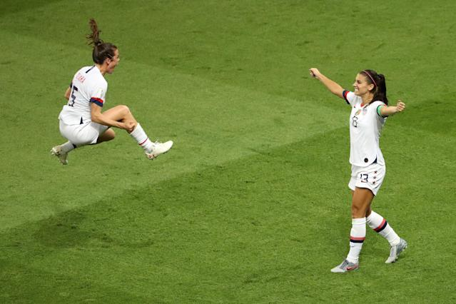 Alex Morgan and Kelley O'hara of the USA celebrate following victory in the 2019 FIFA Women's World Cup France Quarter Final match between France and USA at Parc des Princes on June 28, 2019 in Paris, France. (Photo by Robert Cianflone/Getty Images)