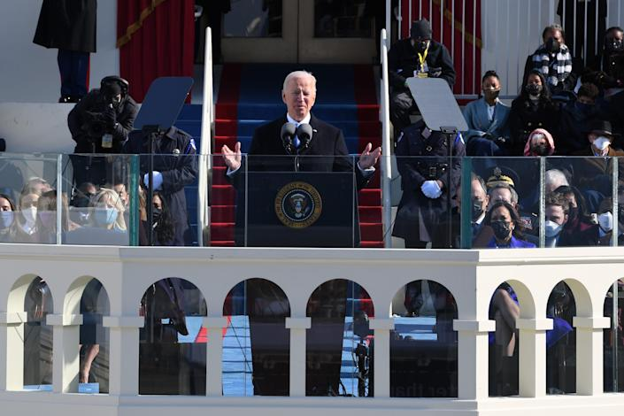 President Joe Biden addresses the nation after being sworn in during the 2021 Presidential Inauguration of President Joe Biden and Vice President Kamala Harris at the U.S. Capitol.