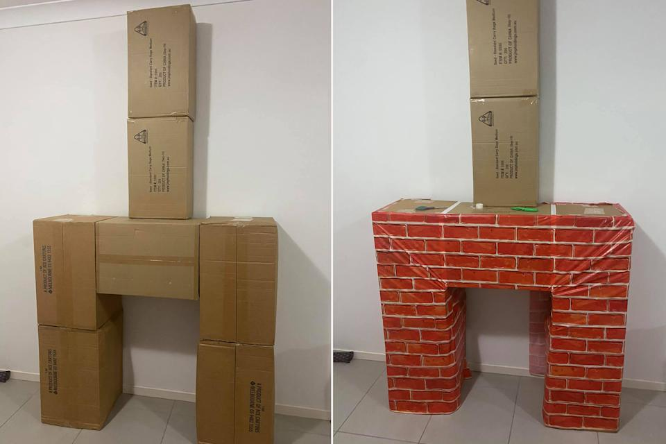 Using seven boxes, the mum was able to create the fireplace and chimney using just one packet of Kmart's Brick Wall Wrap. Photo: Facebook