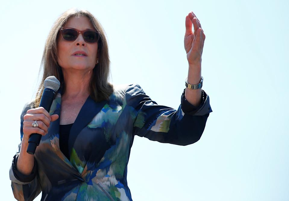 Democratic 2020 U.S. presidential candidate and author Marianne Williamson speaks at the Iowa State Fair in Des Moines, Iowa, U.S., August 9, 2019. REUTERS/Eric Thayer