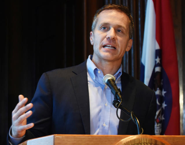 Missouri Gov. Eric Greitens speaks at a news conference about allegations related to his extramarital affair with his hairdresser, in Jefferson City, Mo., Wednesday, April 11, 2018. (Photo: Julie Smith/Jefferson City News-Tribune via AP)