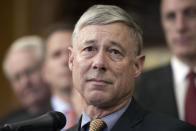 """FILE - In this Dec. 8, 2016, file photo, Rep. Fred Upton, R-Mich., speaks on Capitol Hill in Washington. Upton told reporters Friday on Capitol Hill he has """"not seen any evidence of fraud that would overturn 150,000 and some votes."""" (AP Photo/Cliff Owen, File)"""