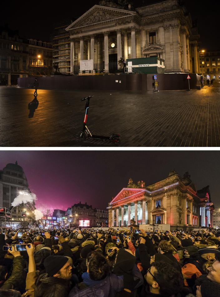 A combo of images that shows an empty historic center in Brussels on Thursday Dec. 31, 2020 and the same location full of revelers celebrating the New Year early on Sunday, Jan. 1, 2017. As the world says goodbye to 2020, there will be countdowns and live performances, but no massed jubilant crowds in traditional gathering spots like the Champs Elysees in Paris and New York City's Times Square this New Year's Eve. The virus that ruined 2020 has led to cancelations of most fireworks displays and public events in favor of made-for-TV-only moments in party spots like London and Rio de Janeiro. (AP Photo/Francisco Seco and Geert Vanden Wijngaert)