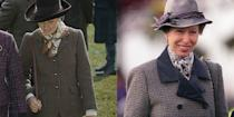 """<p>Over the decades, Princess Anne's style has remained timeless and consistent. Actress Erin Doherty donning a brown tweed blazer and silk printed scarf in season 4, which was very similar to what the Princess wore to the Cheltenham Races in 1997.</p><p><strong>RELATED</strong>: <a href=""""https://www.goodhousekeeping.com/life/entertainment/a34835377/the-crown-season-3-princess-anne-true-story-timeline/"""" rel=""""nofollow noopener"""" target=""""_blank"""" data-ylk=""""slk:What 'The Crown' Gets Right About Princess Anne's Life as a Young Woman"""" class=""""link rapid-noclick-resp"""">What 'The Crown' Gets Right About Princess Anne's Life as a Young Woman</a></p>"""