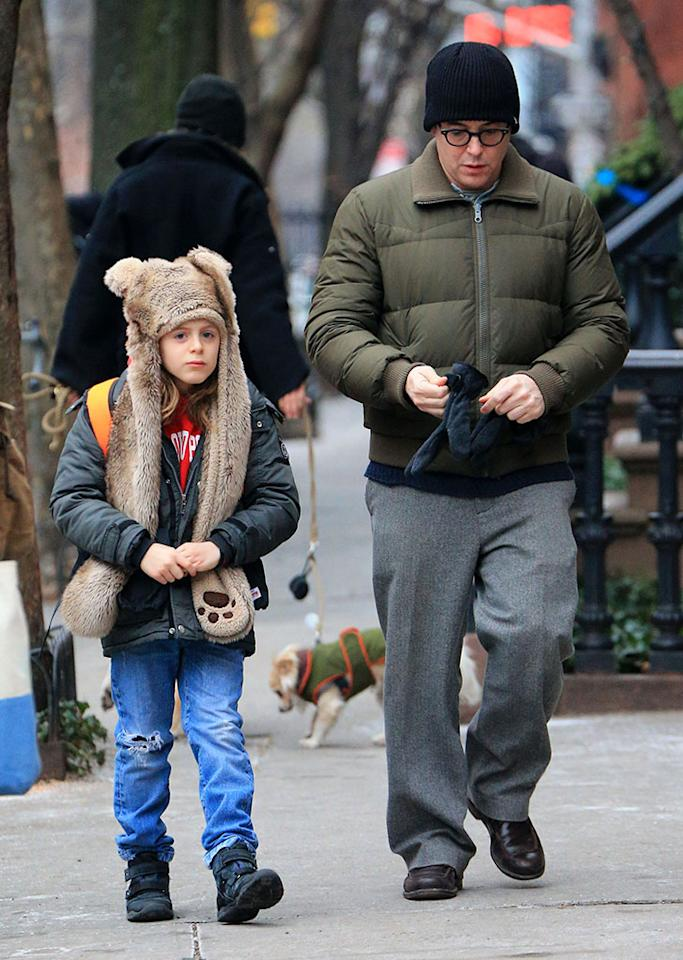 Matthew Broderick takes James Wilkie Broderick to school in NYC.