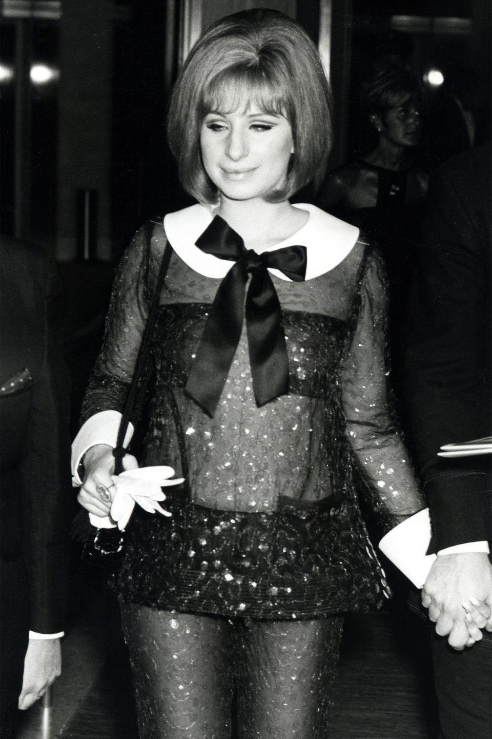 <p>Barbra Streisand won best actress for <em>Funny Girl</em>, and also caused commotion in this sheer mod Arnold Scaasi dress. </p>