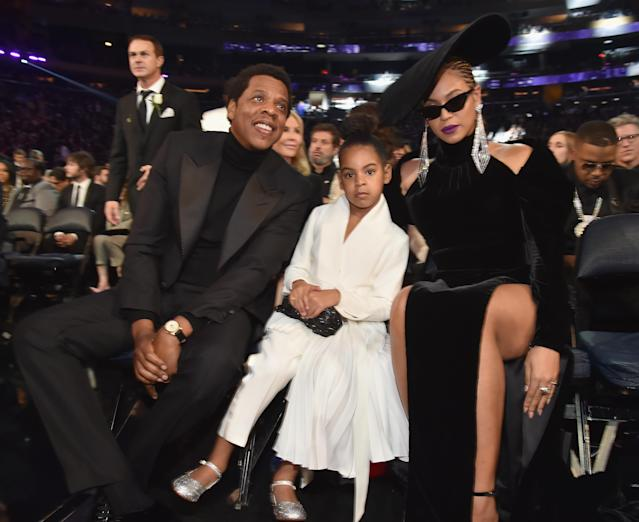 Who runs the world? The Carters: Jay-Z, Blue Ivy, and Beyoncé held court at the 2018 Grammys. (Photos: Getty Images)