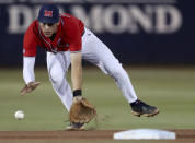 Mississippi shortstop Jacob Gonzalez (7) ranges into the gap to field a grounder by Arizona's Tanner O'Tremba for the third out in the fourth inning in an NCAA college baseball tournament super regional game Saturday, June 12, 2021, in Tucson, Ariz. (Kelly Presnell/Arizona Daily Star via AP)
