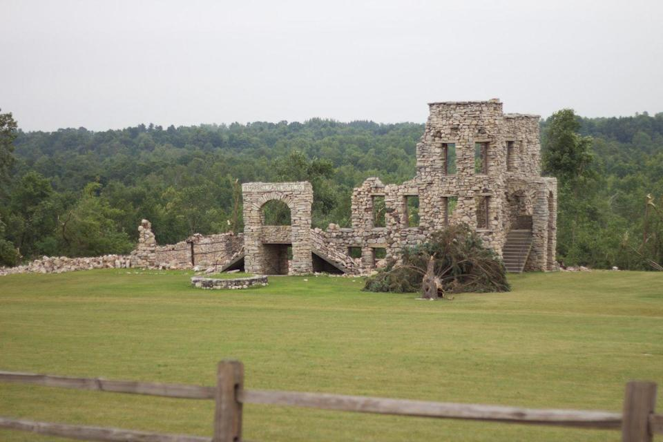 """<p><strong>Maribel Caves Hotel - Maribel, WI</strong></p><p>The Maribel Caves Hotel, which opened its doors in 1900, was once the pit stop for wealthy travelers and even notorious gangsters, including Al Capone and John Dillinger. In 1985, after several closings and re-openings, the hotel suffered a massive fire and was never fully refurbished. With such <a href=""""https://www.htrnews.com/story/news/local/2014/09/27/preserving-past/16362765/"""" rel=""""nofollow noopener"""" target=""""_blank"""" data-ylk=""""slk:an interesting history"""" class=""""link rapid-noclick-resp"""">an interesting history</a>, it's no wonder that the abandoned European structure has garnered a ghost story or two.<br></p><p>Photo: Flickr/<a href=""""https://www.flickr.com/photos/michaelsteeber/22878368179/in/photolist-zM2M85-Bqd9Ni-AsF2iQ-zM2X2U-ySsXv4-zNdJTy-zwKpLW-zM2UHf-ARFBMM-z9UDpd-2QUSfb-ySi1t9-z9UFoy"""" rel=""""nofollow noopener"""" target=""""_blank"""" data-ylk=""""slk:Michael Steeber"""" class=""""link rapid-noclick-resp"""">Michael Steeber</a></p>"""