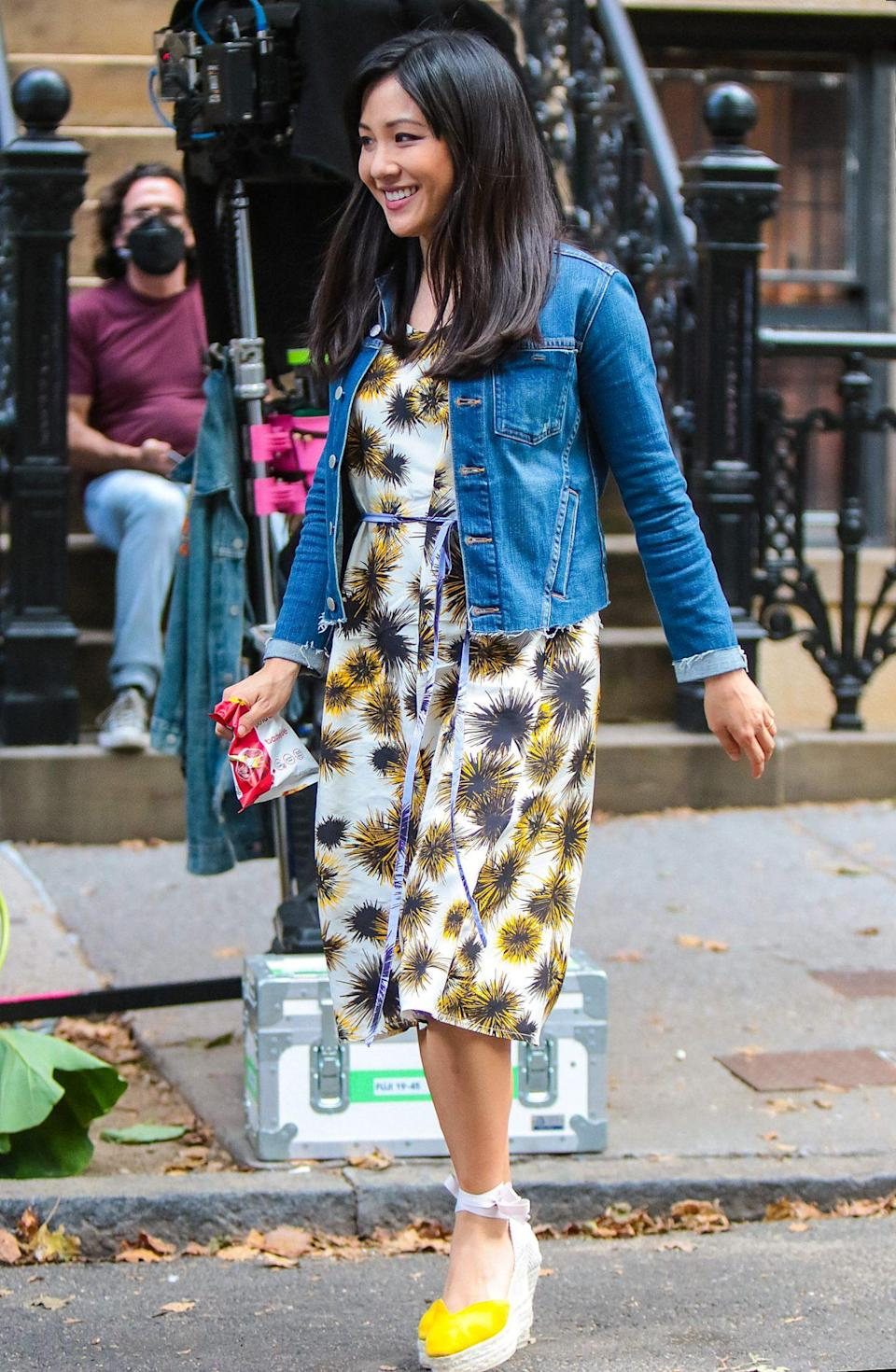 <p>Constance Wu looks ready for spring on Sept. 21 while shooting <em>Lyle, Lyle, Crocodile</em> in N.Y.C. </p>