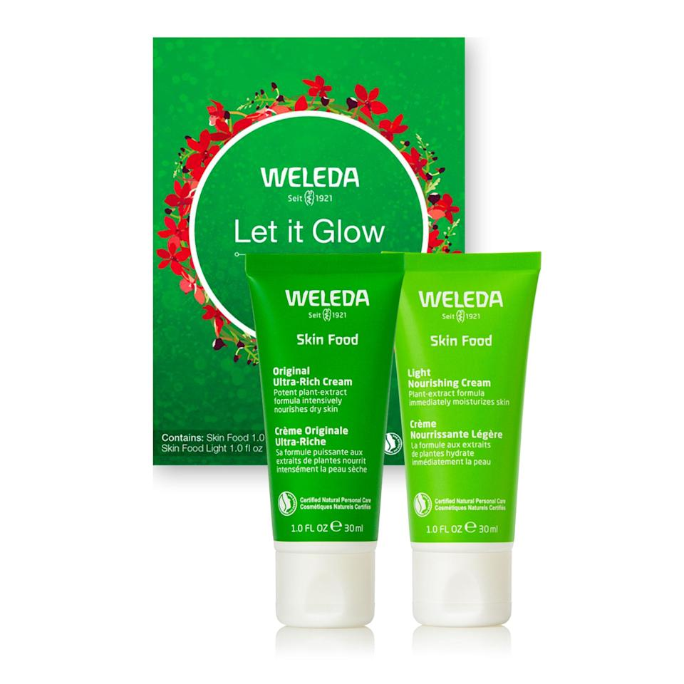 """<p>If Grandma likes to keep her skin care simple, she's going to love this Weleda set. It features two versions of the brand's beloved <a href=""""https://www.allure.com/story/weleda-skin-food-hand-cream-winter-skin?mbid=synd_yahoo_rss"""" rel=""""nofollow noopener"""" target=""""_blank"""" data-ylk=""""slk:Skin Food"""" class=""""link rapid-noclick-resp"""">Skin Food</a>: the Original Ultra-Rich Cream and the Light Nourishing Cream. Tell her to use the Original all winter or at night — when she needs more intense dryness relief — and make the Light one her go-to day cream or summer moisturizer. Both work on face and body, which any minimalist can appreciate.</p> <p><strong>$12</strong> (<a href=""""https://shop-links.co/1724045246709221459"""" rel=""""nofollow noopener"""" target=""""_blank"""" data-ylk=""""slk:Shop Now"""" class=""""link rapid-noclick-resp"""">Shop Now</a>)</p>"""