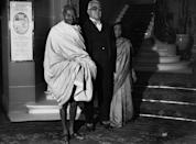 (Original Caption) Original caption: Mr Gandhi Meets The Aga Khan, At The Ritz Hotel, London, 1931. Information from photo: Gandhi; Mohandas Karamchand, known as Mahatma: (1869-1948) Indian leader, born in Porbandar, Kathiawar. He studied law in London, & in 1893 he have up a Bombay legal practice worth £5000 a year to live on £1 a week in South Africa, where he spent 21 years opposing discriminatory legislation against Indians. In 1914 he returnerd to India. While supporting the British in WW1, he took an increasing interest in the Home Rule movement (swaraj), over which he soon obtained a personal dominance, becoming master of the congress organization. His civil disobedience campaign of 1920 involved violent disorders. From 1922 to 1924 he was in jail for conspiracy & in 1930 he led a 200 mile march to the sea to collect salt in symbolic defiance of the government monopoly (Photo by © Hulton-Deutsch Collection/CORBIS/Corbis via Getty Images)