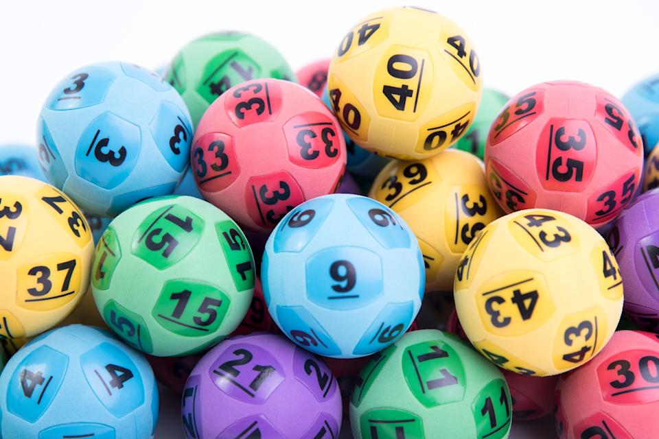Lottery balls are pictured.
