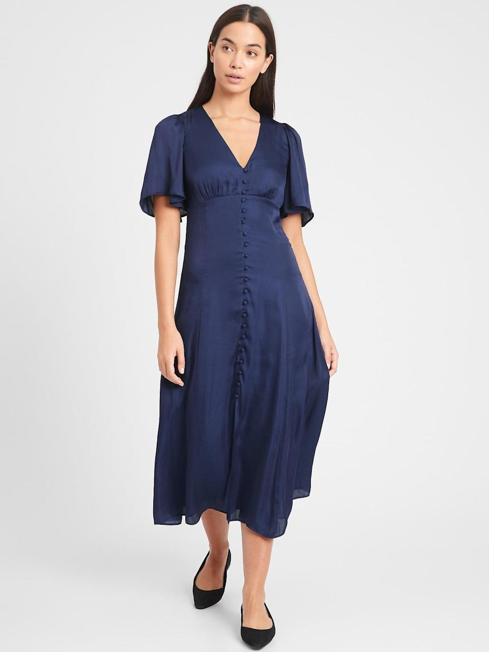 <p>The cut of this <span>Satin Flutter-Sleeve Midi Dress</span> ($89, originally $149) is very flattering.</p>
