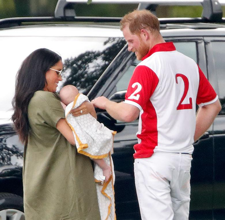 A photo of Meghan, Duchess of Sussex, Archie Harrison Mountbatten-Windsor and Prince Harry, Duke of Sussex at the King Power Royal Charity Polo Match, in which Prince William, Duke of Cambridge and Prince Harry, Duke of Sussex were competing for the Khun Vichai Srivaddhanaprabha Memorial Polo Trophy at Billingbear Polo Club on July 10, 2019 in Wokingham, England.