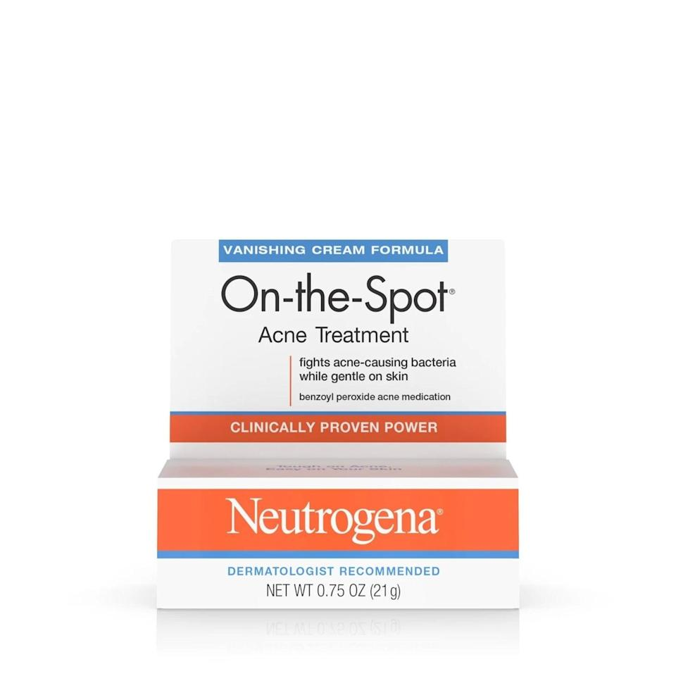 """<p>""""One of the best acne-fighting treatments we have via prescription can also be mimicked with over-the-counter medicines. The <span>Neutrogena On-The-Spot Acne Treatment</span> ($5) can be mixed with the Differin gel. The way to do it is to gently cleanse your face before bedtime, then apply a pea-size amount of each medicine to your entire face (not just as a spot treatment!) when it is dry. Follow this up with a noncomedogenic moisturizer, like the Cerave PM lotion. You need to be consistent for four to six weeks prior to seeing results. The benzoyl peroxide, which is in the Neutrogena Spot Treatment, may bleach your pillowcase, so make sure to sleep with a white pillowcase if you try this."""" - dermatologist <a href=""""http://instagram.com/RobertFinneyMD"""" class=""""link rapid-noclick-resp"""" rel=""""nofollow noopener"""" target=""""_blank"""" data-ylk=""""slk:Robert Finney"""">Robert Finney</a>, MD FAAD</p>"""