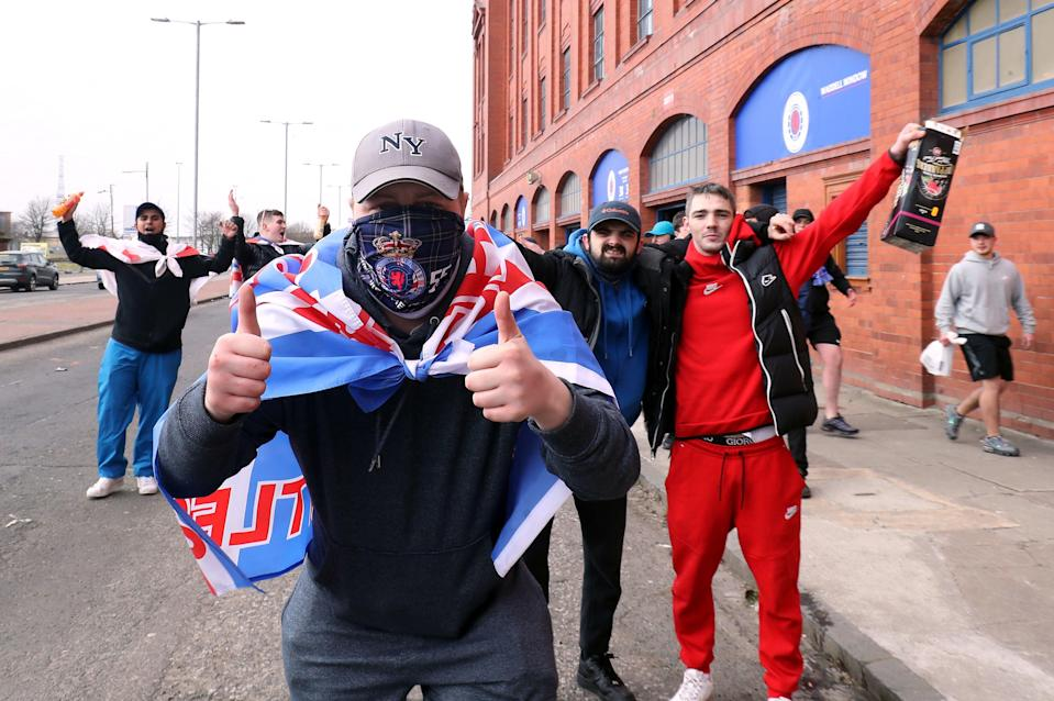Rangers fans outside the ground ahead of the Scottish Premiership match at Ibrox Stadium, GlasgowPA