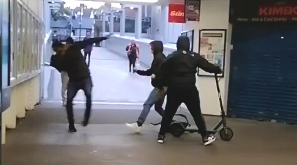 The thieves were seen taking the e-scooter from the man at Luton rail station. (SWNS)