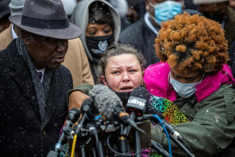 Katie Wright, whose son Daunte Wright was fatally shot by police in Minneapolis, was joined at a press event by relatives of George Floyd, another Black man killed by police in 2020