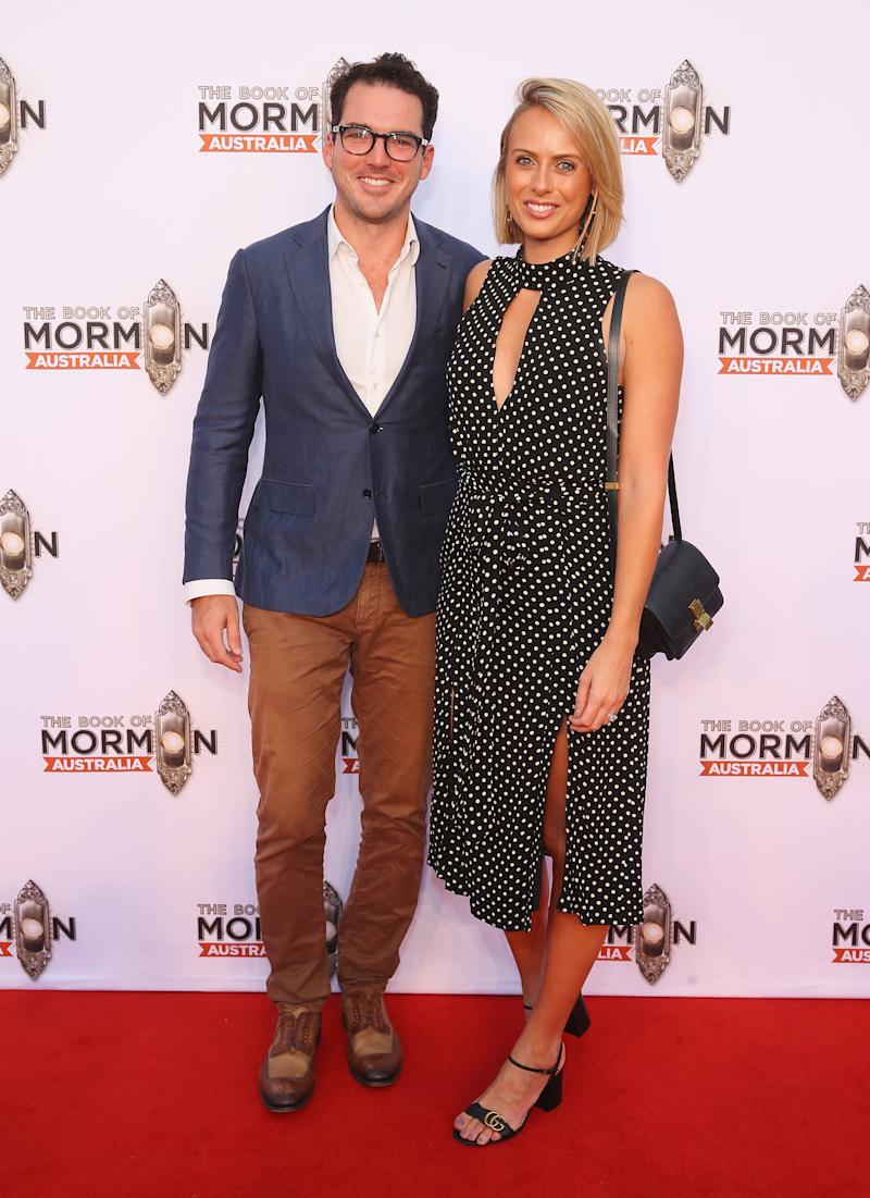 SYDNEY, AUSTRALIA - MARCH 09: Peter Stefanovic and Sylvia Jeffreys arrive ahead of The Book of Mormon opening night at the Lyric Theatre, Star City on March 9, 2018 in Sydney, Australia. (Photo by Don Arnold/WireImage)