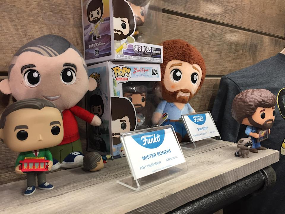<p>PBS superstars Fred Rogers and Bob Ross are part of pop-culture history … and Funko's line of vinyl figures. (Photo: Ethan Alter) </p>