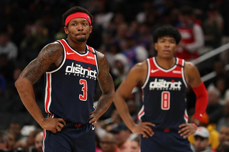 Bradley Beal #3 and Rui Hachimura #8 of the Washington Wizards