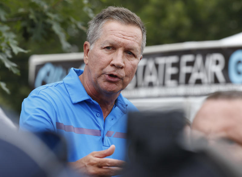 """FILE - In a July 27, 2017 file photo, Ohio Gov. John Kasich speaks at a news conference at the Ohio State Fair, in Columbus, Ohio. Kasich says Sunday, Aug. 20, 2017, that President Donald Trump needs to stop the staff chaos at the White House and """"settle it down."""" Kasich is among those who fear the staff churn is hampering Trump's ability to notch a major legislative victory. (AP Photo/Jay LaPrete, File)"""