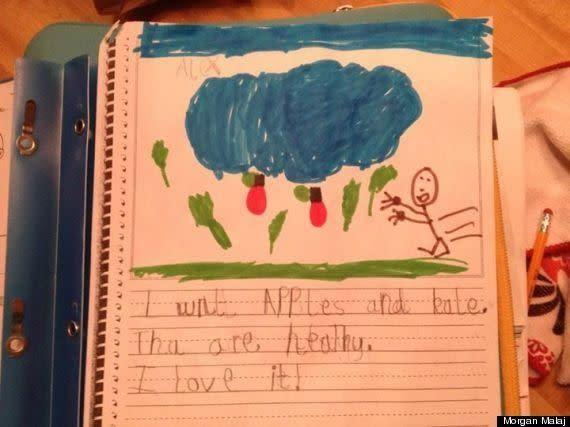 "<strong>Author</strong>: Alex <strong>Age</strong>: 5 <a href=""http://www.huffingtonpost.com/2013/09/28/cute-kid-note-of-the-day-cloudy-with-a-chance-of-kale_n_3745194.html"" rel=""nofollow noopener"" target=""_blank"" data-ylk=""slk:Click Here To See The Full Note"" class=""link rapid-noclick-resp"">Click Here To See The Full Note</a>"